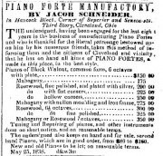 Jacob Schneider's Piano ad as it appeared in the 1848-08-23 issue of the Plain Dealer in Cleveland, Ohio