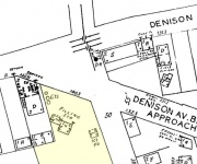 Map showing the location of Mike's Gulf Station at the corner of Denison Avenue and West 14th St.